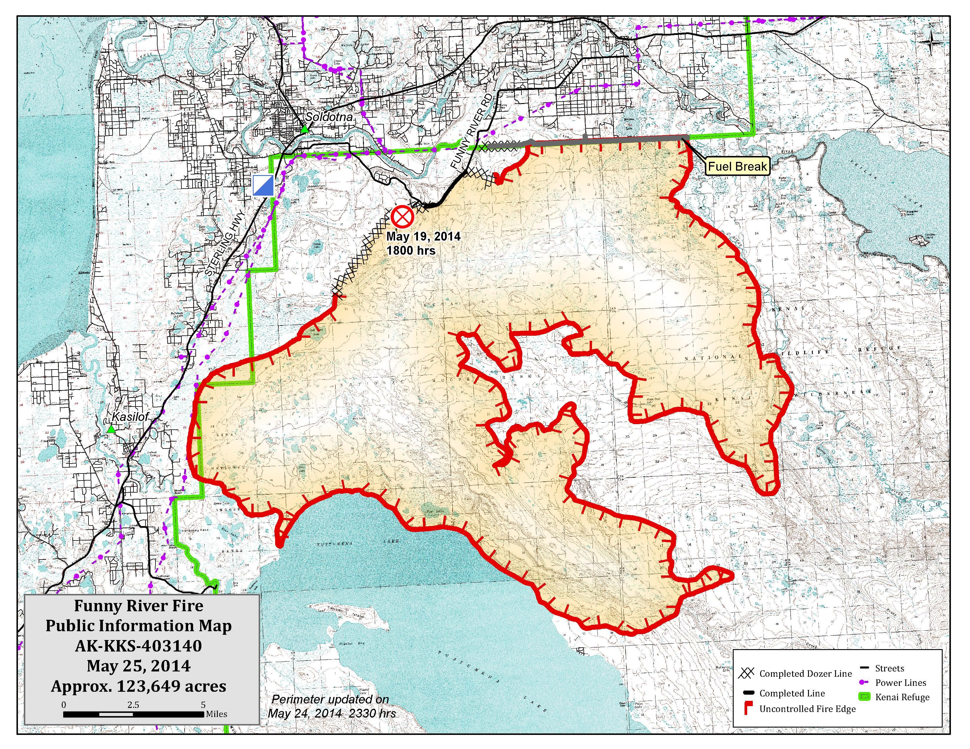 Funny River Fire Map 5 25 14 | AK Fire Info