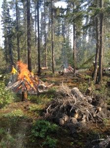 Wildland fire staff burn piles in Wrangell-St. Elias National Park and Preserve.