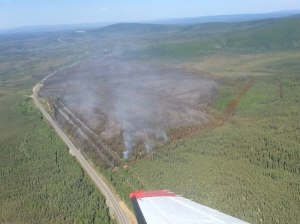 the Seaton Roadhouse Fire burns along the Alaska Highway on Thursday, May 21, 2015. Alaska Div. of Forestry photo