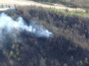 An aerial photo of the 108-acre French Gulch Fire near  Healy.