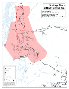 The latest map of the evacuation area for the 6,500-acre Sockeye Fire near Willow.