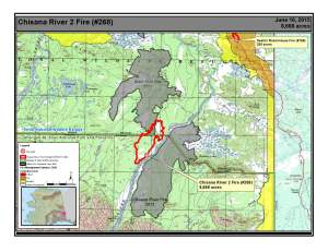 A map showing the perimeter of the 8,668-acre Chisana River 2 Fire burning in Wrangell-St. Elias National Park and Preserve and Tetlin National Wildlife Refuge.