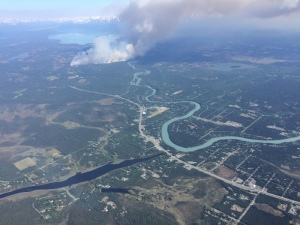 An aerial photo of the 640-acre Card Street Fire burning near Sterling on the Kenai Peninsula on Monday.