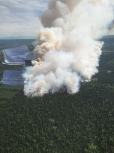 An aerial photograph of the Sockeye Fire burning north of Willow, which at last report was estimated at 1,100 acres and still growing. Photo by Division of Forestry Air Attack.