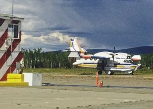 Scooper Plane lands at the Tanacross Air Tanker Base to refuel after making water drops on the Tetlin Hills Fire. Photo Credit: Jim Schwarber, Alaska Division of Forestry