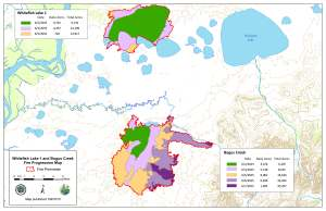 A progression map that shows the daily growth of both the Whitefish Lake 1 and Bogus Creek fires in southwest Alaska.