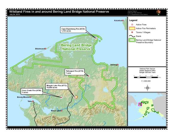July 24 map of wildland fires in and around Bering Land Bridge National Preserve