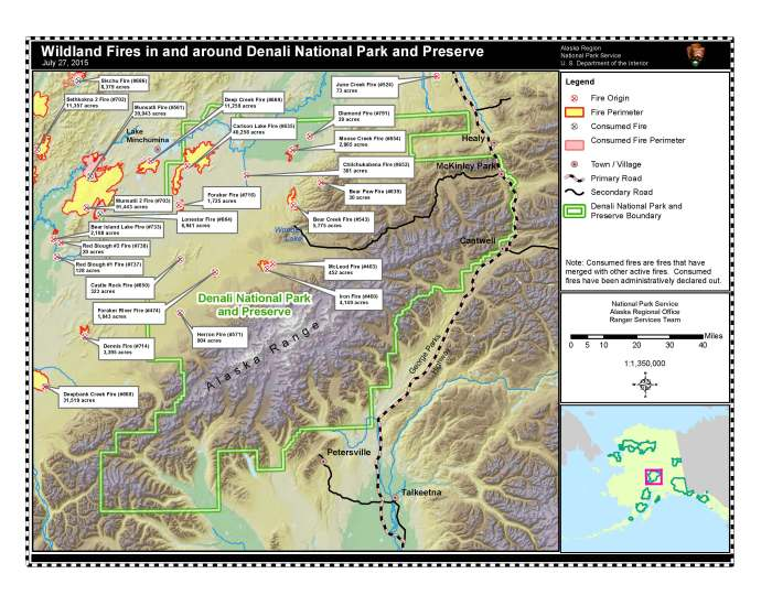 July 27, 2015 map of wildland fires in and around Denali National Park and Preserve