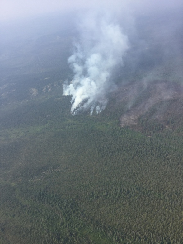 Aerial view of smoke from the Lockwood Fire