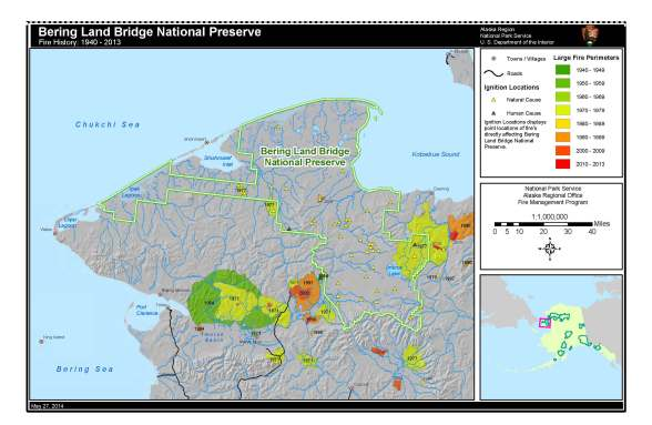 Bering Land Bridge National Preserve Fire History Map (1940 - 2013)