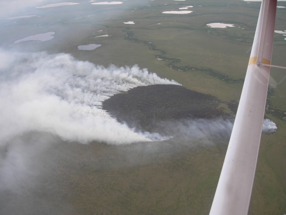 Aerial view of the Eli River Fire on July 17, 2015 at approximately 7:30 am
