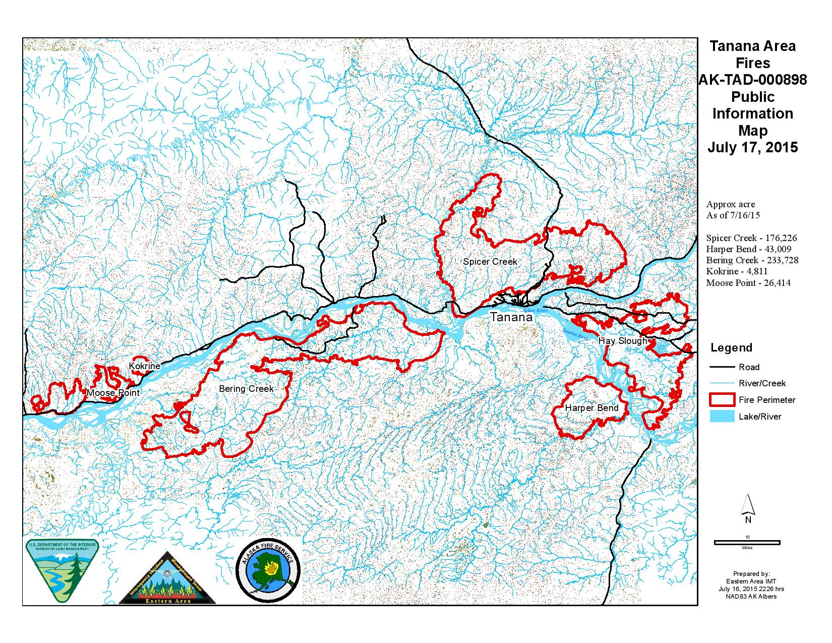 Tanana Area Fires Update And Map; July 17 | AK Fire Info
