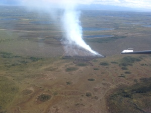 An aerial photo of the Horseshoe Lake Fire near Big Lake at approximately 5 p.m. Photo by Jason Jordet/Alaska Division of Forestry