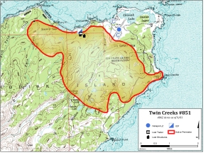 A perimeter map of the Twin Creeks Fire on Kodiak Island as of Sept. 1, 2015.