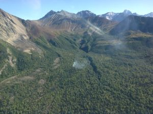 An aerial photo of the King Mountain Fire north of Sutton taken at approximately 4 p.m. Photo by Jason Jordet/Alaska Division of Forestry