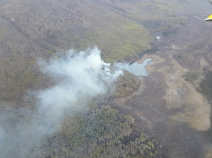 An aerial photo of an approximately 10-acre fire burning in a remote area near the Knik River near Palmer.