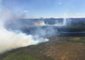 A photo of the Medfra Fire taken on Monday. Alaska Division of Forestry photo.