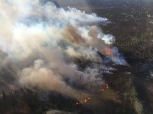 A photo of the Medfra Fire burning on Sunday. Photo by Alaska Division of Forestry