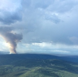 The smoke column from the 2016 Washington Creek Fire north of Fairbanks at approximately 9 p.m.