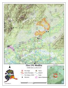 An Alaska Division of Forestry perimeter map of the 10,488-acre Medfra Fire burning about 50 miles northeast of McGrath.