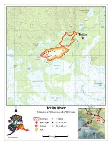 A map from the Alaska Division of Forestry shows the perimeter of the Tetlin River Fire approximately 20 miles south of Tok.
