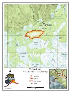 An Alaska Division of Forestry map shows the perimeter of the approximately 1,000-acre Tetlin River Fire as of 8 p.m. Sunday night.