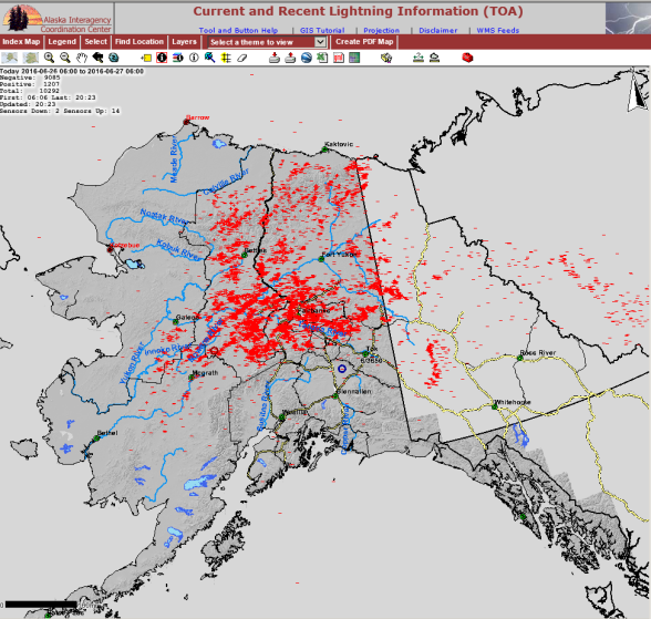 10,292 lightning strikes were recorded across Alaska between 6 a.m. and 6 p.m. on June 26, 2016.