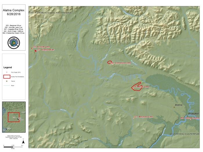 A June 30, 2016 BLM Alaska Fire Service map of the Alatna Complex, which includes five fires burning north and west of Allakaket and Alatna.