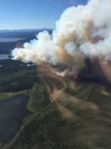 A photo taken at approximately 5 p.m. Friday of the Tetlin River Fire, which is now estimated at approximately 700 acres. Photo by Tim Whitesell/Alaska Division of Forestry