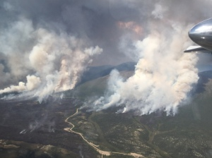 This aerial photo of the Warren Creek Fire was taken at approximately 5 p.m. on Saturday. Photo by Tony Chapman/Alaska Fire Service