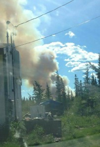 A photo of the smoke column from the Tetlin River Fire tkaen by a resident in Tetlin Village, which is about 2 miles northwest of the fire.