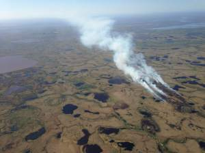 An aerial photo of the Aropuk Lake Fire taken on Thursday. Alaska Division of Forestry photo