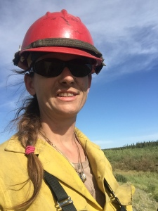 Carrie Hale served as the engine boss on for a three-woman engine crew on the Tetlin River Fire near Tok. Photo by Jenny Moser/Alaska Division of Forestry