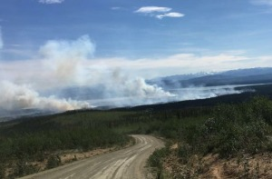 Tetlin resident Angie Isaac took this photo of the 1,000-acre Tetlin River Fire at 4:30 p.m. Saturday on the road leading to the village of Tetlin, which is located approximately 15 miles off the Alaska Highway south of Tok.