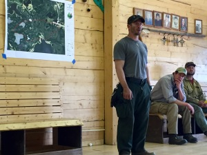 Incident Commander Jon Glover from the Alaska Division of Forestry addresses Tetlin village residents in a community meeting Monday afternoon in Tetlin. Photo by Sarah Saarloos/Alaska Division of Forestry