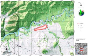 This Alaska Division of Forestry map shows the perimeter of the Mid Salcha Fire when it was estimated at 357 acres. The fire has since grown to 700 acres and has crossed McCoy Creek. Map by Tom Ruszkowski/Alaska Division of Forestry