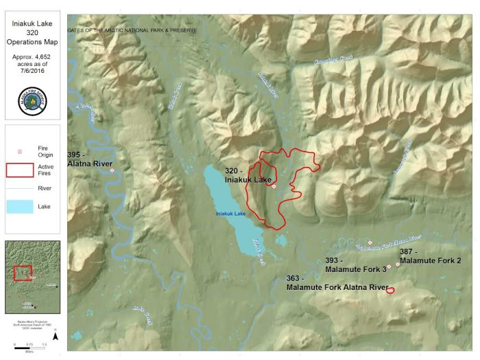 Map of the Iniakuk Fire (number 320) that is burning on the east side of Iniakuk Lake located about 42 miles northwest of Bettles.