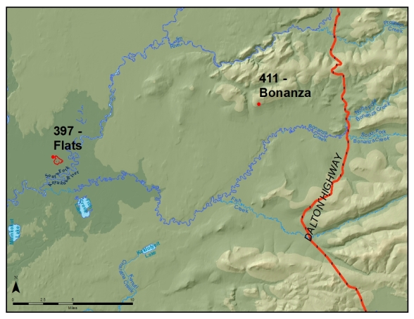 Map - The Bonanza Fire (#411) is burning seven miles west of the Dalton Highway. Most people report seeing it while driving between mileposts 120 and 130, just south of Gobbler's Knob. The Flats Fire (#397) is burning about 23 miles to the west of the Arctic Circle BLM Wayside at mile 115.5 of the Dalton Highway.