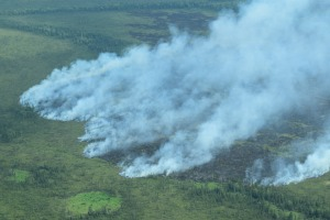The bear Creek Fire burning approximately 50 miles southeast of McGrath is now estimated at 550 acres. Nathan Zalewski/Alaska Division of Forestry