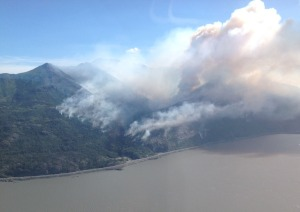 A photo of the McHugh Fire south of Anchorage along the Seward Highway taken at approximately 11 a.m. The Alaska Division of Forestry is now estimating the fire at 500-600 acres. Jordan Jordet/Alaska Division of Forestry