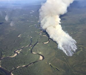 An aerial photo taken Thursday of the Mid Salcha River Fire near the Salcha River south of Fairbanks. The fire is now estimated at 700 acres. Photo by John Lyons/Alaska Fire Service