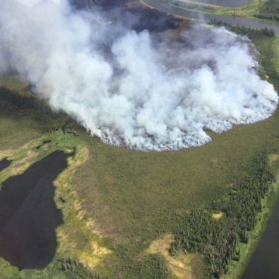 The Mauneluk River 2 fire near the Gates of the Arctic National Park and Preserve puts up smoke while burning through almost 34,000 acres and three miles on July 15, 2016. Photo by Ryan McPherson, BLM Alaska Fire Service.