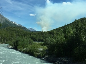 A smoke column from the Tiekel #1 and Tiekel #2 fires is seen Tuesday, July 19, 2016 from the Richardson Highway. The two fires are burning along the Tiekel River approximately 5 miles off the Richardson Highway but do not pose a threat at this time. Ashley Dale/Alaska Division of Forestry
