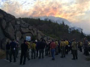 Alaska Incident Management Team morning briefing at McHugh Creek Fire, July 20, 2016. Photo: Celeste Prescott