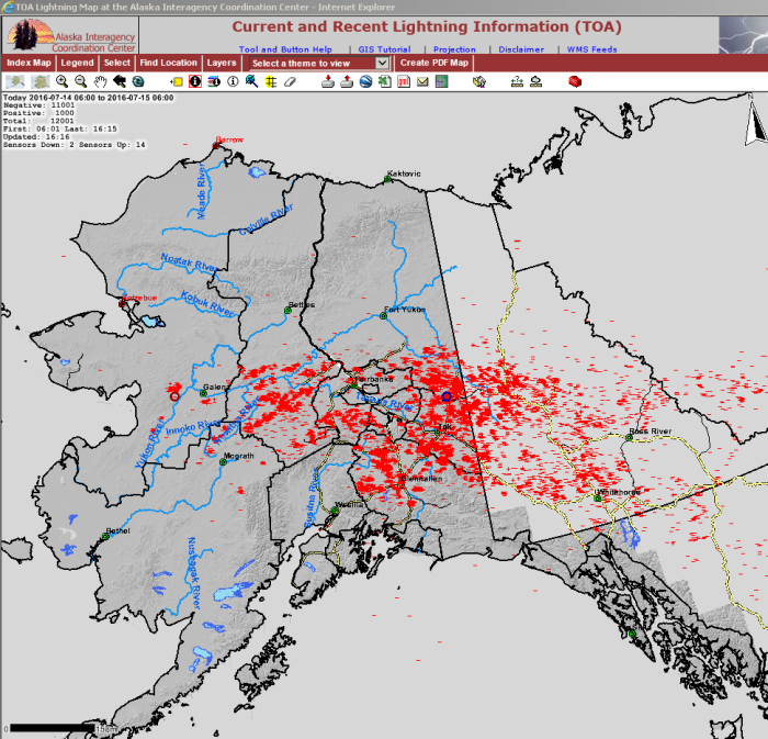 Map - There were 12,001 lightning strikes recorded across Alaska between 6 a.m. and 4:16 p.m. today, July 14, 2016, according to the Alaska Interagency Coordination Center.