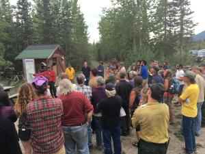 Approximately 50 people attended a public meeting in McCarthy on Tuesday night, July 10, 2016 to learn more about the 12,000-acre Steamboat Creek Fire burning near the community.