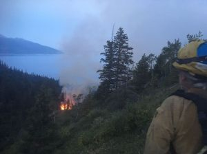 An Alaska Division of Forestry firefighter stands above a wildfire burning in the McHugh Creek drainage south of Anchorage off the Seward Highway at approximately 3 a.m. Sunday. Firefighters have not been able to reach the fire on foot yet due to steep terrain. Renette Saba/Alaska Division of Forestry