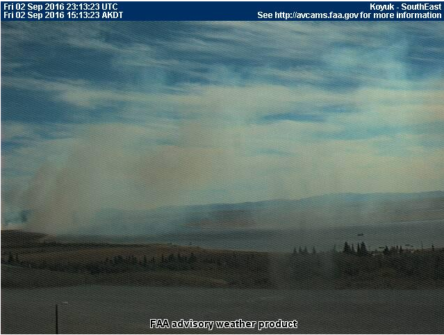This FAA weather camera shot shows the smoke from the fire burning east of Koyuk at 1:13 p.m. on Friday, Sept. 2, 2016.