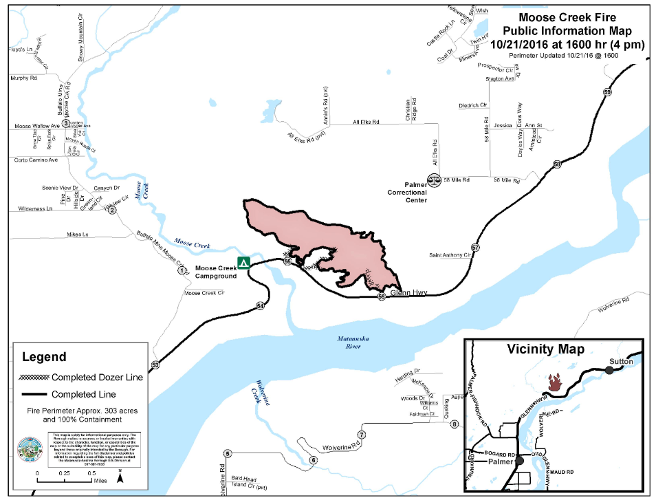 Moose Creek Fire North Of Palmer Is 100 Percent Contained Ak Fire Info