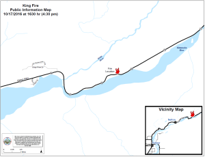 A map showing the location of the 5-acre King Fire near Mile 68.5 of the Glenn Highway. Leah Jones/Matanuska-Susitna Borough